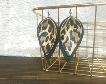 Leopard + Black Leather Pinched Leaf Earrings