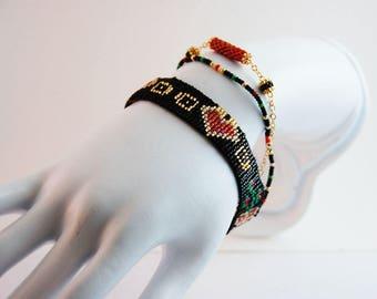 Cuff multi-row woman black white green red gold - Delica Miyuki beads