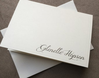 Personalized notecards white or natural 3.5 x 5 inches --choice of envelope color - set of 10
