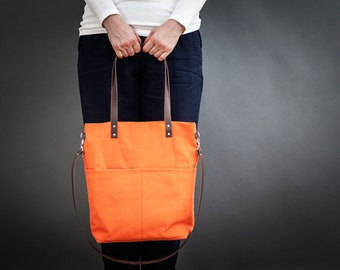 Canvas bag, Orange, Crossbody, outside pocket, leather straps, tote bag, handbag, shopping bag, shoulder bag, day bag, Medium, Ida