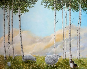 Afternoon on the Hill Sheep Birch Tree Sheltie Oil Painting OOAK