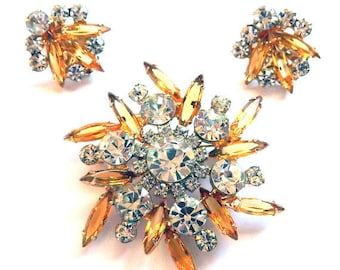 Vintage 1960s Juliana Rhinestone Brooch and Earring Set