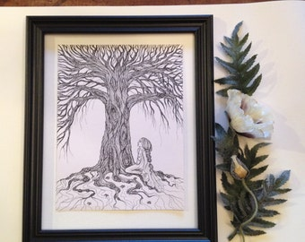 Under the Tree - ink pencil drawing by Allison L. Bush-Forsberg