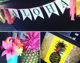 Glitter Hawaiian Party Decor - Summer / Graduation / Luau