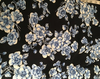 Blue and White Rayon Crepe, Floral Rayon Yardage, Vintage Style Fabric by the Yard