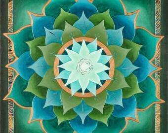 Jungle Lotus Mandala-  archival print on photo paper