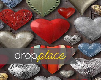 Printed Tin Hearts Photography backdrop  Background Photo Booth Printed vinyl or Fabric (Multiple Sizes Available)