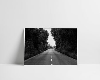 Forest Road Print Black And White Travel Photography Black Home Decor Wall Hangings Open Road Print Instant Download Modern Road Poster Gift