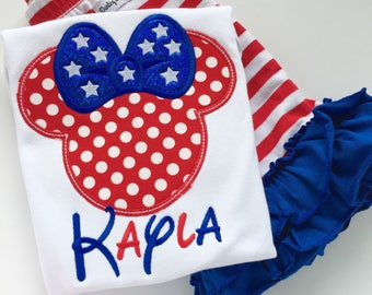 Miss Mouse shirt, tank or bodysuit for girls -- red, white and blue mouse ears in patriotic theme -- includes name