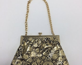 Vintage Black And Gold Floral Clutch With Chunky Gold Chain