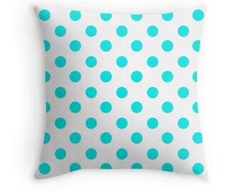Aqua Pillow Cover, Polka Dot Bedding, Aqua Polka Dot Pillow, Polka Dot Cushion, Polka Dot Pillow, Polka Dot Pillow Cover, Aqua Cushion, Aqua
