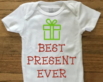 Best Present Ever Baby Bodysuit. Christmas. Holiday. Hanukkah.. Baby Outfit