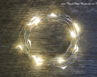 13 ft LED Battery Operated Fairy Lights, Rustic Wedding Decor, Room Decor, 6.6 ft, Batteries NOT included, Warm White