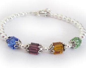 4 Birthstone - Swarovski Birthstone Bracelet - You CHOOSE Colors & Size