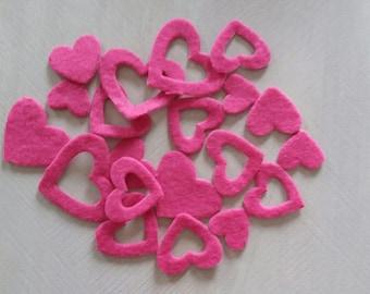 felt hearts set of twenty pink