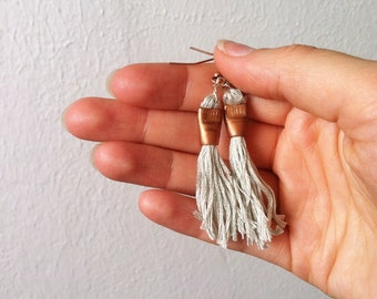 Tassel Earrings - Copper and Seafoam