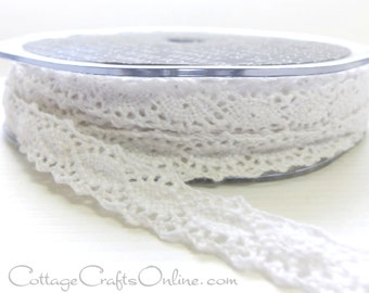 "Lace Ribbon 1/2"" wide, White Crochet Look,  SIXTEEN YARD ROLL - Ampelco - ""Holstein"" Craft Ribbon, Sewing Trim, Embellishment"