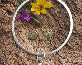 Bullet & Babes Bangle with a Real Bullet Charm Sterling Silver Bangle Bracelet, rustic, artisan, metalwork, handmade, Boho, Bohemian, Gypsy