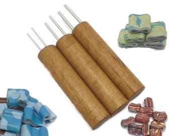 "Double Hole Paper Bead Roller, Set of 3, 1/16"", 3/32"" and 1/8"" double winding pins, Golden Oak Color Birch Handle"