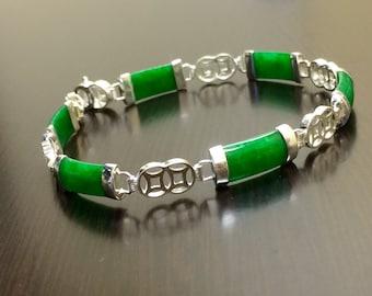 Jade Bracelet - Green Jade Bracelet - Silver Jade Bracelet - Jade Link Bracelet - Handmade Bracelet - Jade Jewelry - Silver Bracelet - Jade