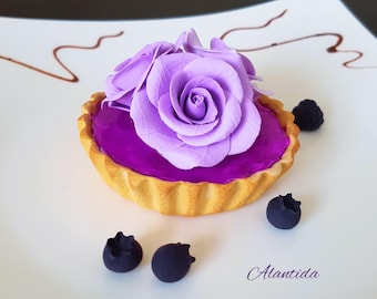Realistic Tart With Roses Fake Tart  Faux Cupcake for Kitchen Decor Shower Favour Display Dessert