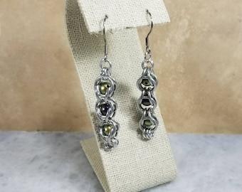 Captured Bead Chainmaille Earrings Swarovski