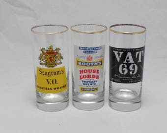 Vintage 1970s Whiskey, Gin, Scotch Highball Glasses - Set of 3 - Vintage Barware, Vintage Drinkware, Barware, Man Cave, Whiskey
