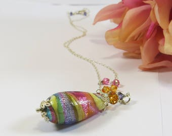 Murano Glass Necklace with Venetian Glass Swarovski Crystal and 925 Sterling Silver, Very Pretty Multicolour Murano Glass Drop Necklace