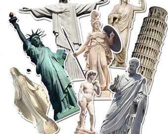8 Sticker- Ancient architecture Statue of Liberty - Bombing Sticker Pack (315-A)