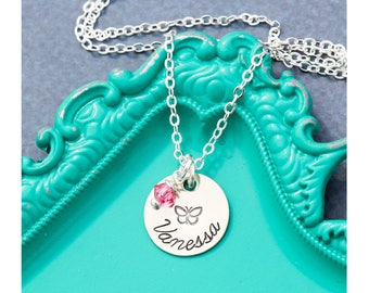 Butterfly Gift Girls Butterfly Necklace • Pink Jewelry Butterfly Charm • Handstamped Name Custom Daughter Gift Sister Little Bug