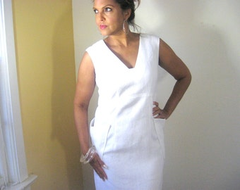 White Dress, White Linen Dress, Sleeveless Dress, Patch Pockets, Below Knee, Lined, Empire Line, Semi-fitted, Anytime, Classic,  V Neckline