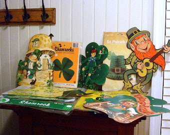 LOT of Vintage 60's - 80's St Patrick's Day Decorations - Beistle * Hallmark * Popcorn *  NEW Window Clings