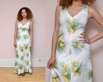 70s Floral Print Maxi Dress Romantic Hippie Dress V Neck Sleeveless Dress Pastel Bouquet Boho Sun Dress