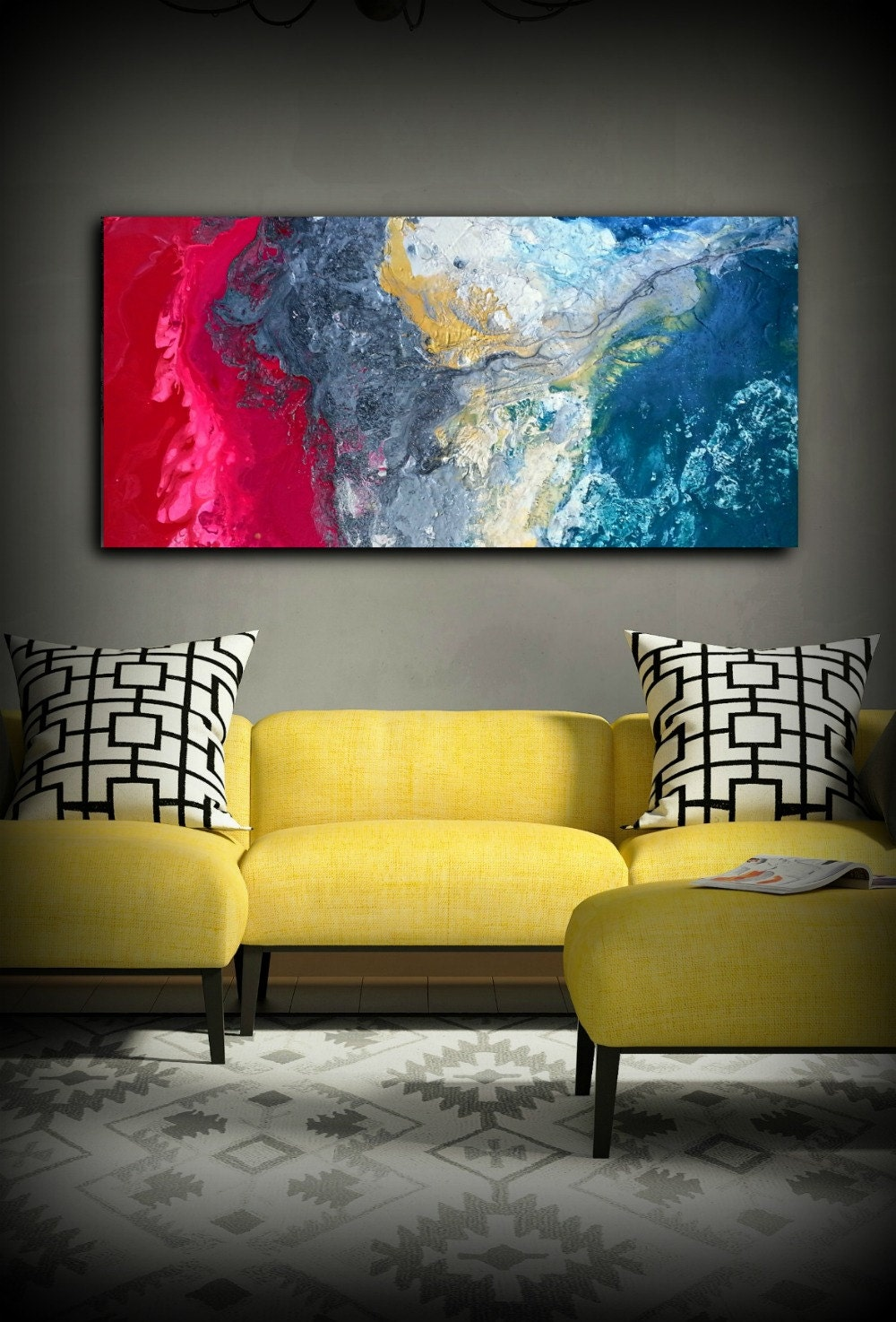 Magenta Painting 24 x48 Acrylic Painting Canvas Art Abstract ...