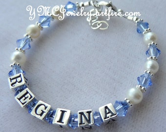 Sterling Silver Freshwater Pearl and Crystal Name Bracelet, Name Children Bracelet, Birthstone Bracelet, Christening,First Communion