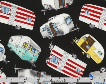 Retro Campers Quilt Fabric, Timeless Treasures GM C5392 Black, Glamping, Vintage Campers, Travel Trailer Fabric, George McCartney, Cotton