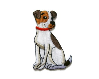 Dog Embroidered Applique Iron on Patch 5.2 cm. x 7.7 cm.