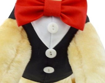 Black Step In Dog Harness with Shirt Front and Bow Tie