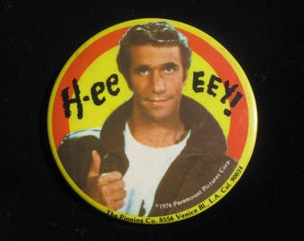 Vintage 1976 Fonzie Large Pin Back Button