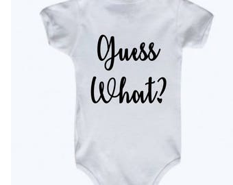Guess What Baby Bodysuit Announcement, Pregnancy Reveal, Idea to Reveal Pregnancy, Baby Announcement, Idea for Announcement, Baby Coming
