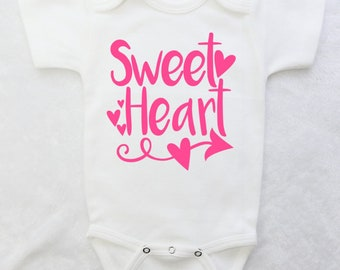 Sweet Heart Baby Girl Bodysuit.  Baby Shower Gift for Baby Girl.  Baby Girl Clothes.