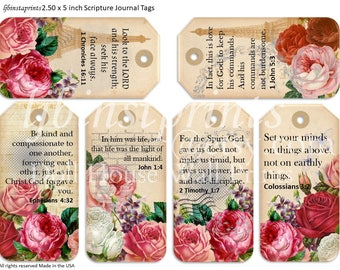 Christian Journal Cards, Scripture Journal Cards, Printable Tags
