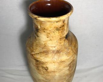 Old ST CLEMENT France Beige Interior Brown Vintage ceramic vase