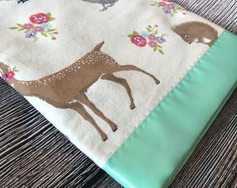 Crib Blanket, Flannel Baby Blanket, Double-sided, woodland theme, Satin trim blanket, Baby Shower Gift, Mint, baby play mat, deer nursery