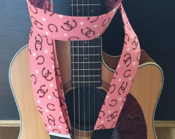 Horseshoes guitar strap // brown and white on pink // western equine gift // tween girl gift // guitarist gift // rockabilly country cowboy