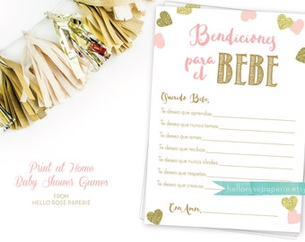 Spanish Well Wishes For Baby . Bendiciones Para El Bebe . Baby Wishes Card  . Pink And Gold Girl Baby Shower Printable . Instant Download
