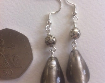 Hand crafted drop earrings, up cycled vintage glass and silver effect beads.