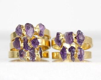 raw amethyst ring | amethyst crystal ring | february birthstone ring | rough amethyst stacking ring | natural amethyst birthstone ring