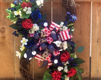 Double Grapevine Patriotic Red White and Blue Wreath