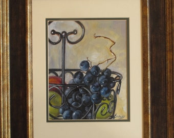 Still Life with Black Grapes in a Basket, Kitchen Still Life, a Small Gift